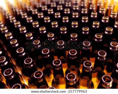 Empty brown beer bottle standing in a row #257779963