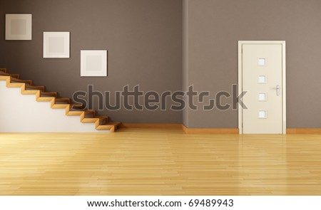 empty brown  interior with door and wooden staircase - rendering