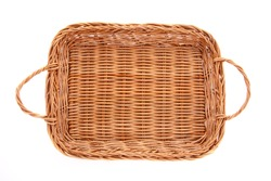 Empty brown wicker basket isolated on white background, top view