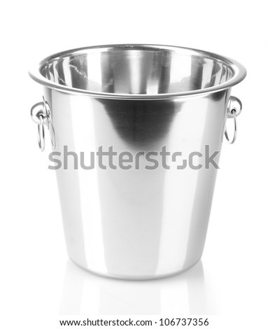 empty bucket for champagne bottle isolated on a white