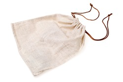 Empty burlap pouch on white background