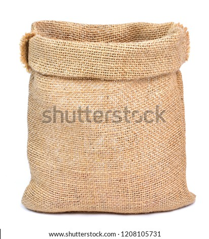 Empty burlap sack or sackcloth bag, isolated on white background. Front view, design element. Stock photo ©