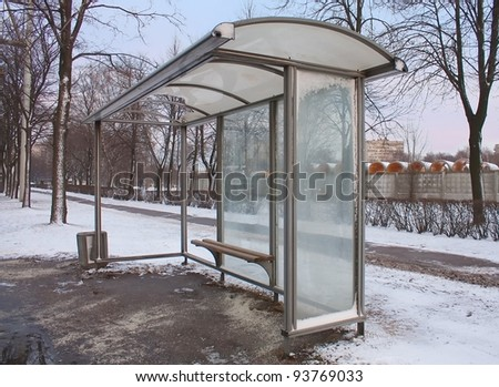 Empty Bus Stop in winter city