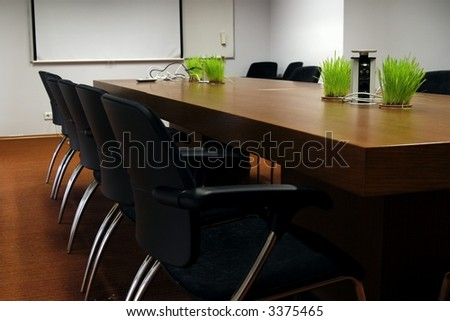 empty business conference room, room is modern and has trendy design elements