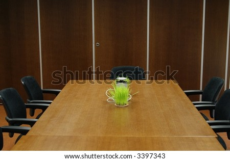 empty business conference room, table and empty chairs