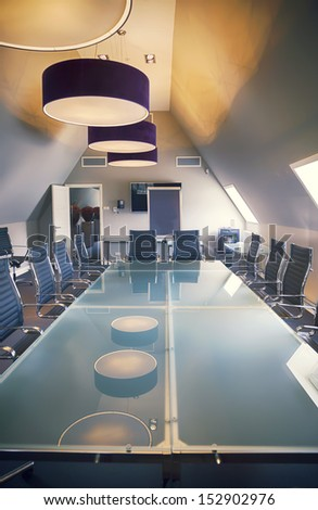 Empty Business Table In Luxury Office
