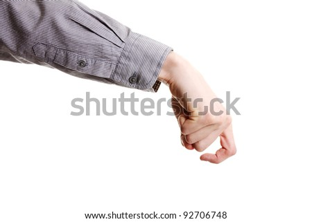 Empty businessman hand isolated on white
