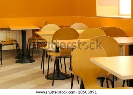 empty cafe interior orange color