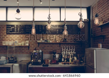 Empty cafe or bar interior