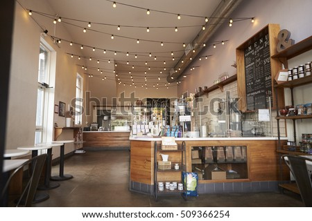Empty cafe or bar interior, daytime