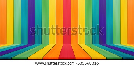 Empty candy rainbow color tabletop for display montage your product advertising.
