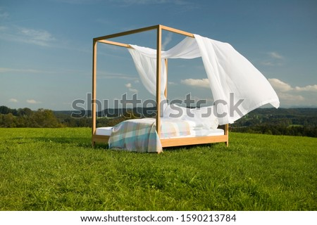 Empty canopy bed in field
