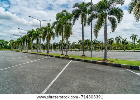 Empty car park with green palm trees and blue sky background - Shutterstock ID 714303391