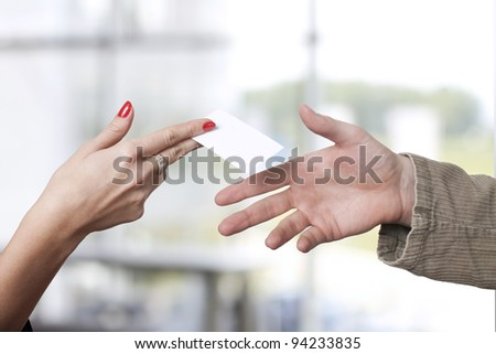 Empty card in hand in office