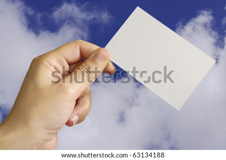 Empty card in human hand with great colors