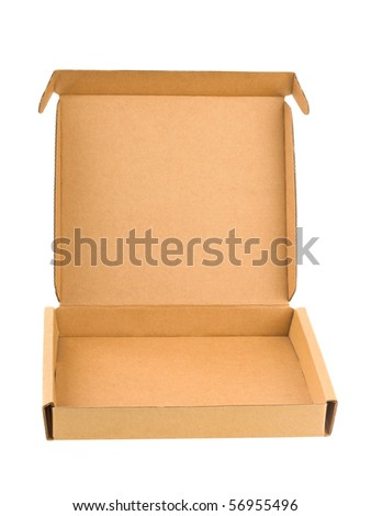 Empty cardboard box isolated on white background