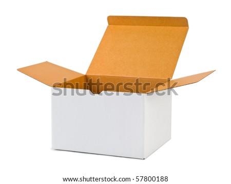 Empty cardboard box isolated on white background