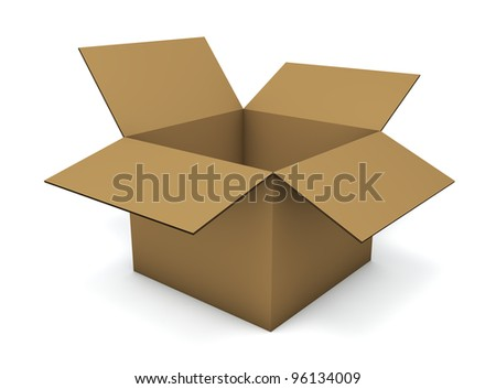 Empty cardboard box isolated on white background.