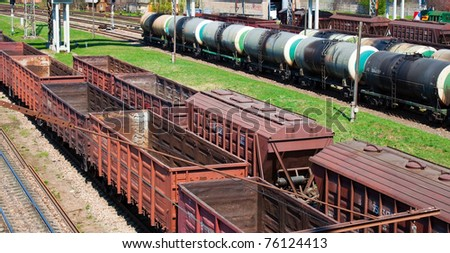 Empty cargo trains and fuel tankers