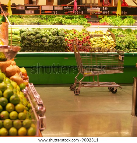 Empty Cart in the Produce Aisle
