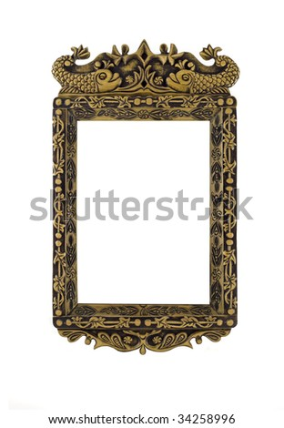 Empty carved Frame for picture or portrait over white - stock photo