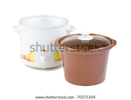 Empty casserole pot for cooking isolated ob white background