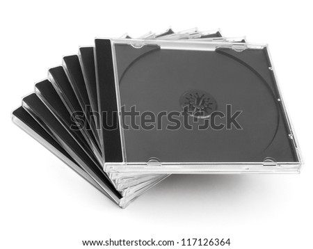 Empty cd cases stack on white
