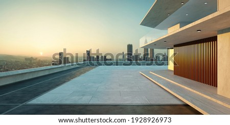 Empty cement floor with steel pavement, modern building exterior cityscape background.  Sunrise scene. Photorealistic 3D rendering.