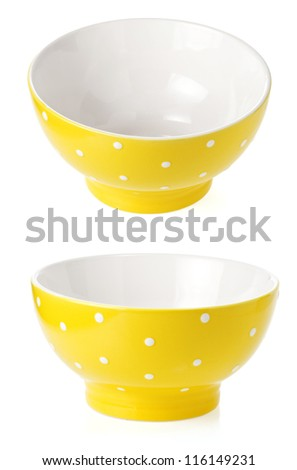 empty ceramic bowl isolated on white