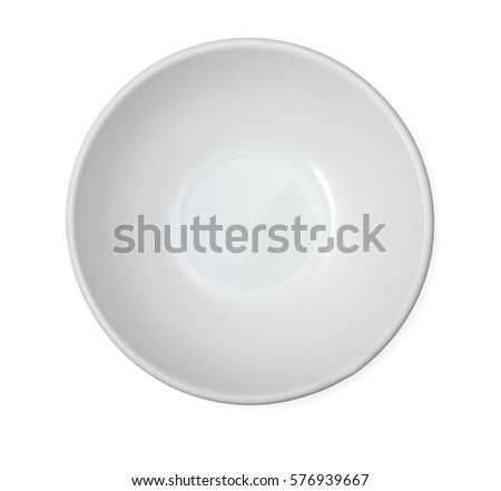 Empty ceramic bowl isolated on white background. Close up, top view. #576939667