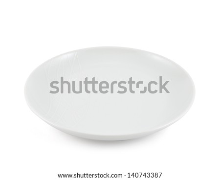 Empty ceramic plate isolated over white background - stock photo