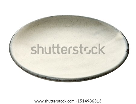 Empty ceramic plate with grey edge, White round plate isolated on white background with clipping path, Side view