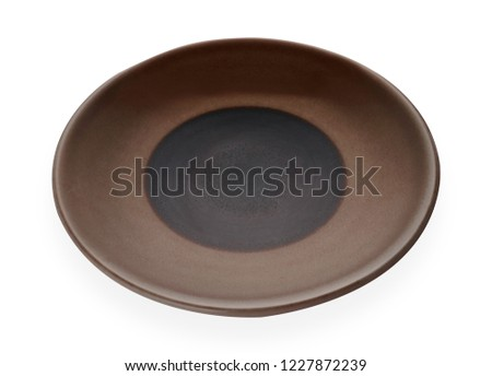 Empty ceramic plates, Classic brown plate isolated on white background with clipping path, Side view                                                             #1227872239