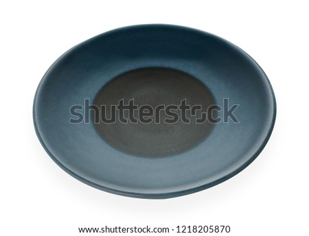 Empty ceramic plates, Classic dark blue plate isolated on white background with clipping path, Side view                                                             #1218205870