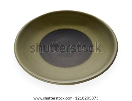 Empty ceramic plates, Classic green plate isolated on white background with clipping path, Side view                                                             #1218205873