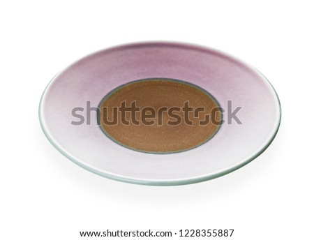 Empty ceramic plates, Classic pink plate isolated on white background with clipping path, Side view                                                             #1228355887