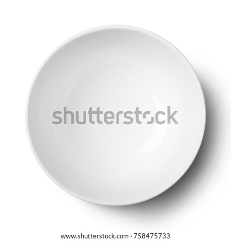Empty ceramic round plate isolated on white with clipping path.View from above