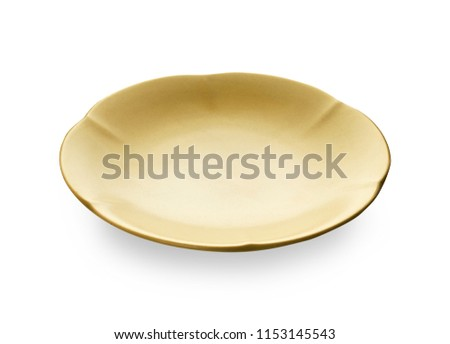 Empty ceramics plates with wavy edge, Classic yellow plate isolated on white background with clipping path, Side view ストックフォト ©