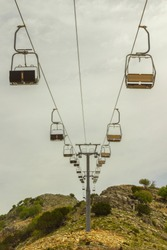empty chair lift on the mountainside in summer