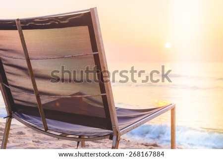 Empty chair sunrise time - vintage filter and light leak effect