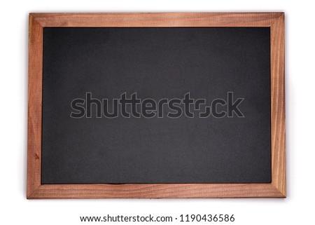 Empty chalk board background. Blank blackboard with wooden frame.