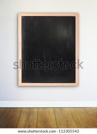 Empty chalk board on the modern wall