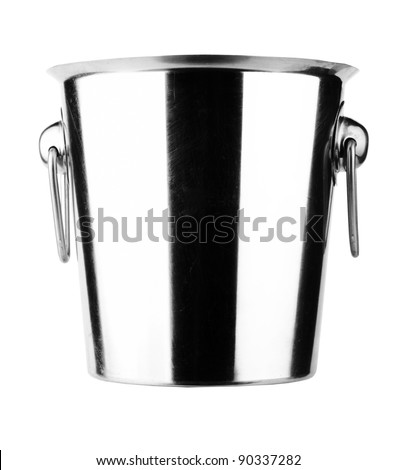 Empty champagne ice bucket. Isolated on white background
