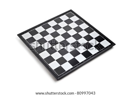 Empty chess board isolated on white background