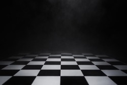 empty chess board with smoke float up on dark background