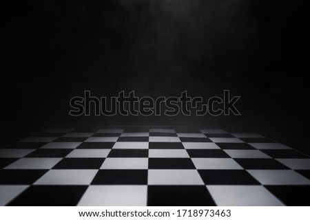 empty chess board with smoke float up on dark background Сток-фото ©