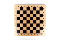 empty chessboard on white background
