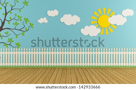 Empty child room with wooden fence,sun,clouds and grass on blue wall - rendering