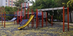 Empty children playground in autumn during lockout for Covid-19 pandemic