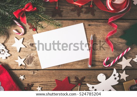 empty christmas card on wooden table